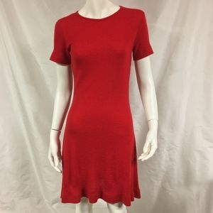 ORLEY Red Ribbed 100% Cashmere Sweater Dress